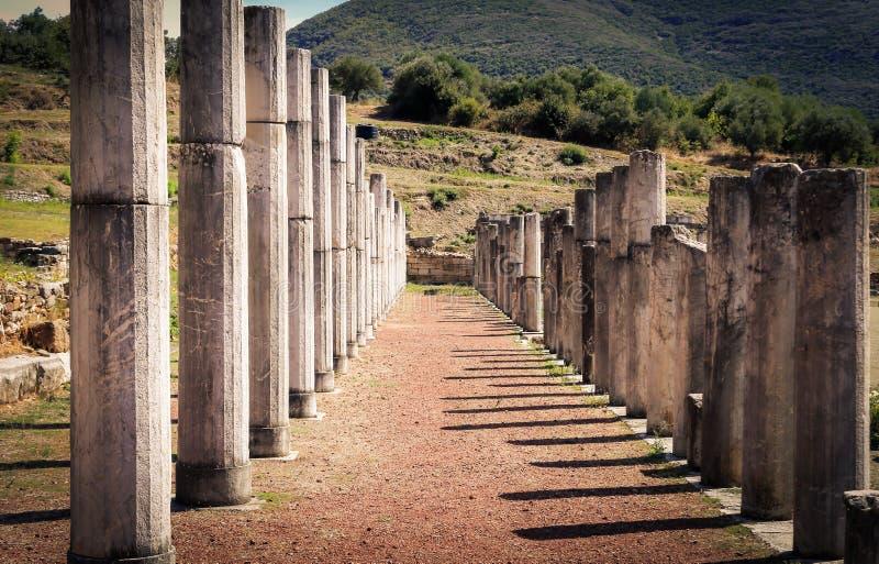 废墟在墨西拿,希腊古城 免版税库存照片