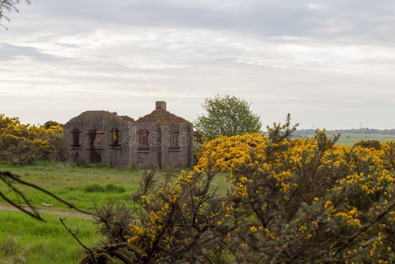 废墟在苏格兰城停泊道路在阿伯丁,苏格兰 免版税图库摄影