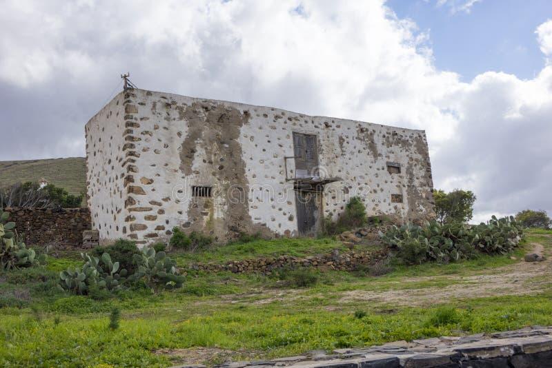 废墟在贝坦库里亚费埃特文图拉岛加那利群岛拉斯帕尔马斯西班牙 免版税库存照片