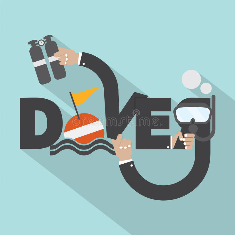 废气管和氧气罐在手中与潜水者印刷术设计 皇族释放例证