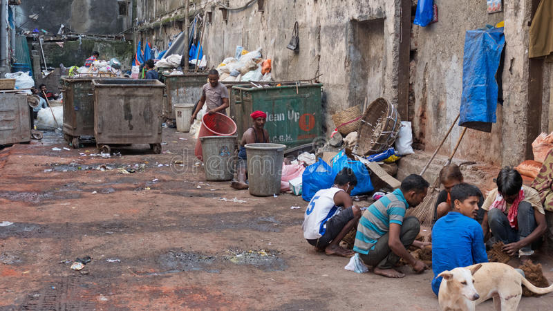 废物管理在孟买 免版税库存照片