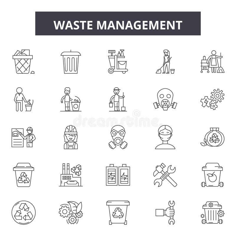 废物管理线象,标志,传染媒介集合,概述例证概念 向量例证