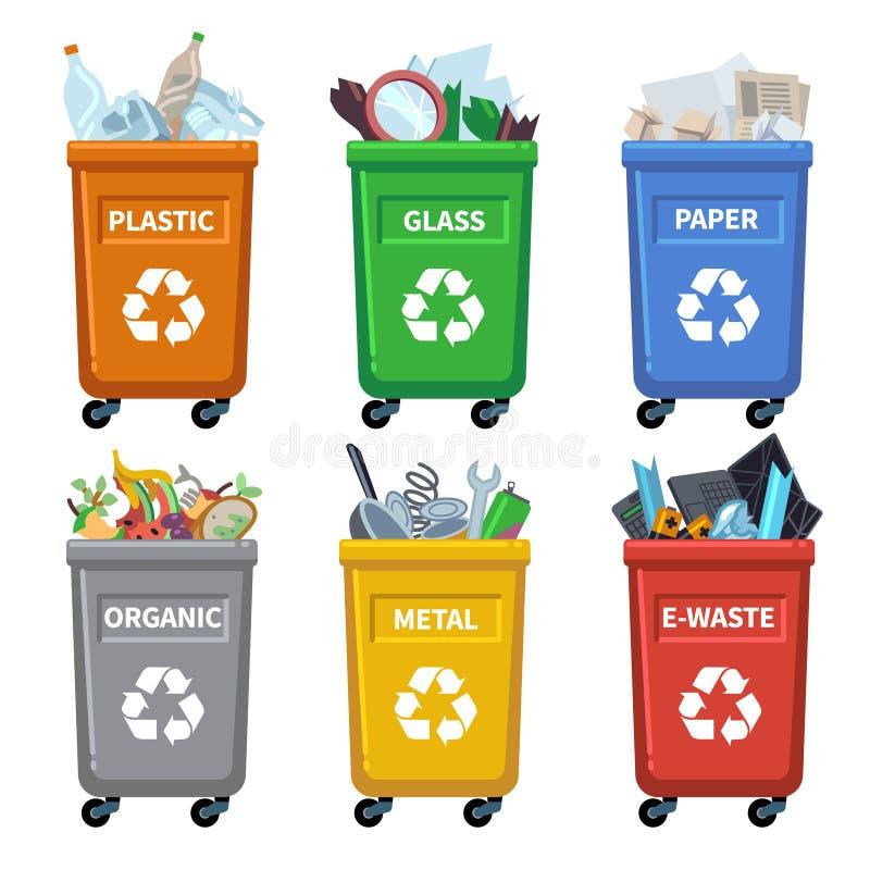 废物箱类别 垃圾回收,分离垃圾容器 有机纸塑料玻璃液混杂的废传染媒介 皇族释放例证