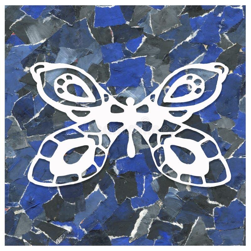 废纸抽象背景拼贴画与蝴蝶的图象的 印刷品,包裹,样式,封皮设计, 免版税库存照片