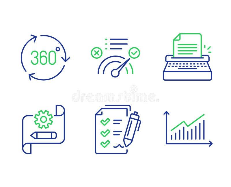 360度、勘测清单和正确答案象集合 钝齿轮图纸,打字机和图表标志 ?? 库存例证