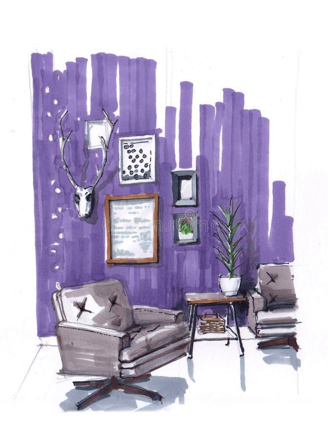 度假区的内部的剪影在一栋舒适公寓的在紫色口气 在现代样式的扶手椅子,咖啡 库存例证