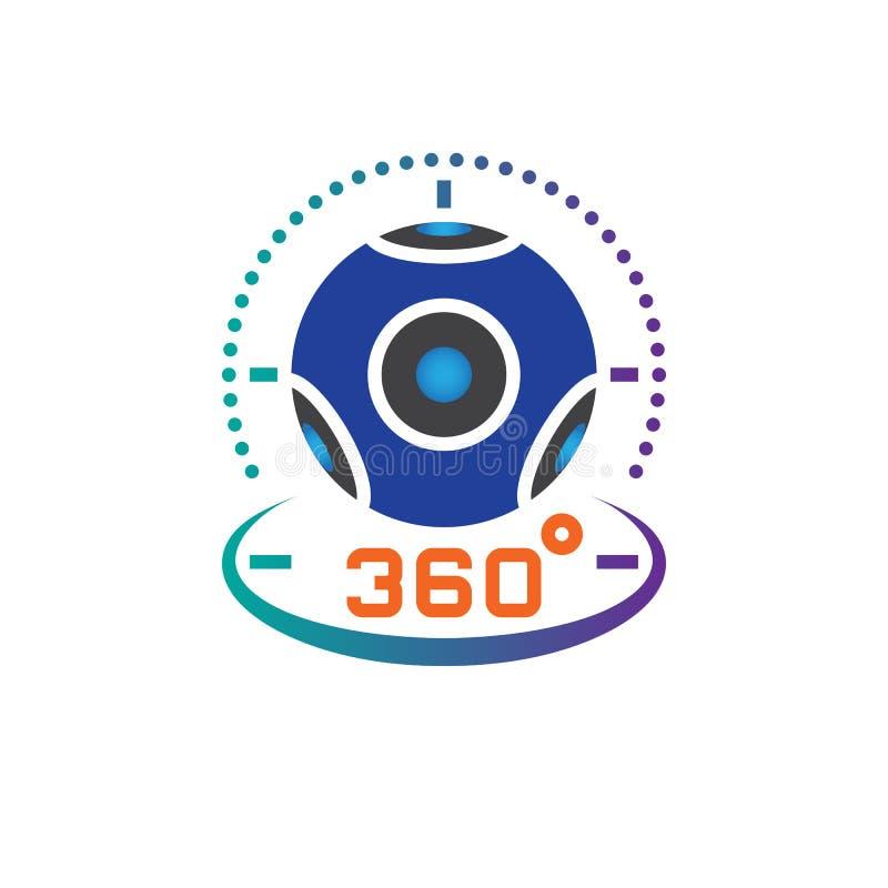 360度全景摄象机象传染媒介,虚拟现实设备坚实商标例证,在白色隔绝的图表 向量例证