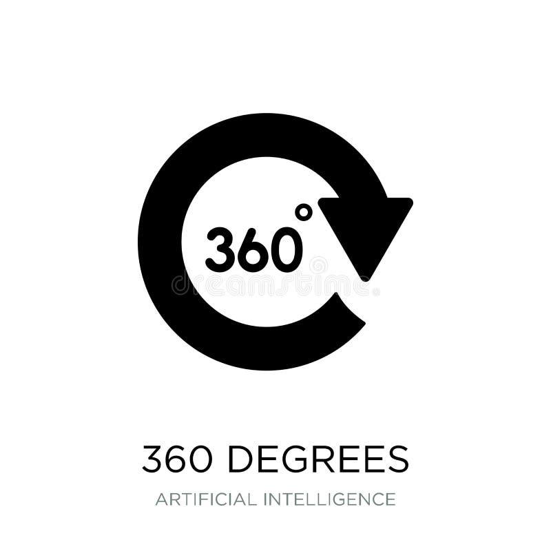 360度在时髦设计样式的象 360度在白色背景隔绝的象 360度导航现代的象简单和 向量例证