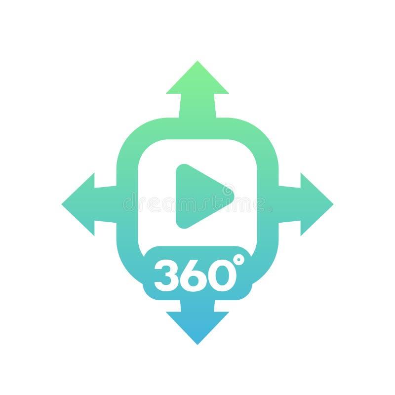 360度在白色的录影传染媒介象 库存例证