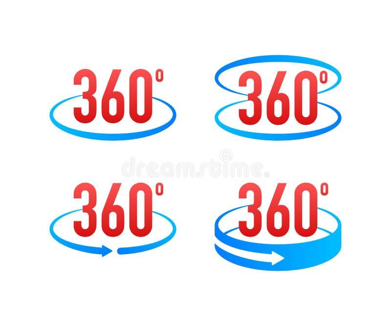 360度看法标志象 与箭头的标志表明自转或全景对360度 也corel凹道例证向量 皇族释放例证