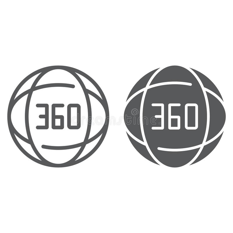 360度线和纵的沟纹象、角度和看法,转动标志,向量图形,在白色背景的一个线性样式 库存例证