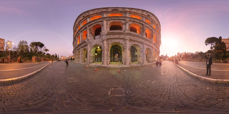 360度虚拟现实日落在罗马罗马斗兽场意大利 免版税图库摄影