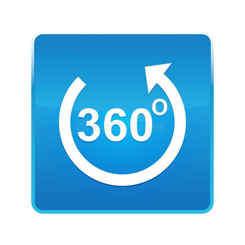 360度转动箭头象发光的蓝色方形的按钮 库存例证