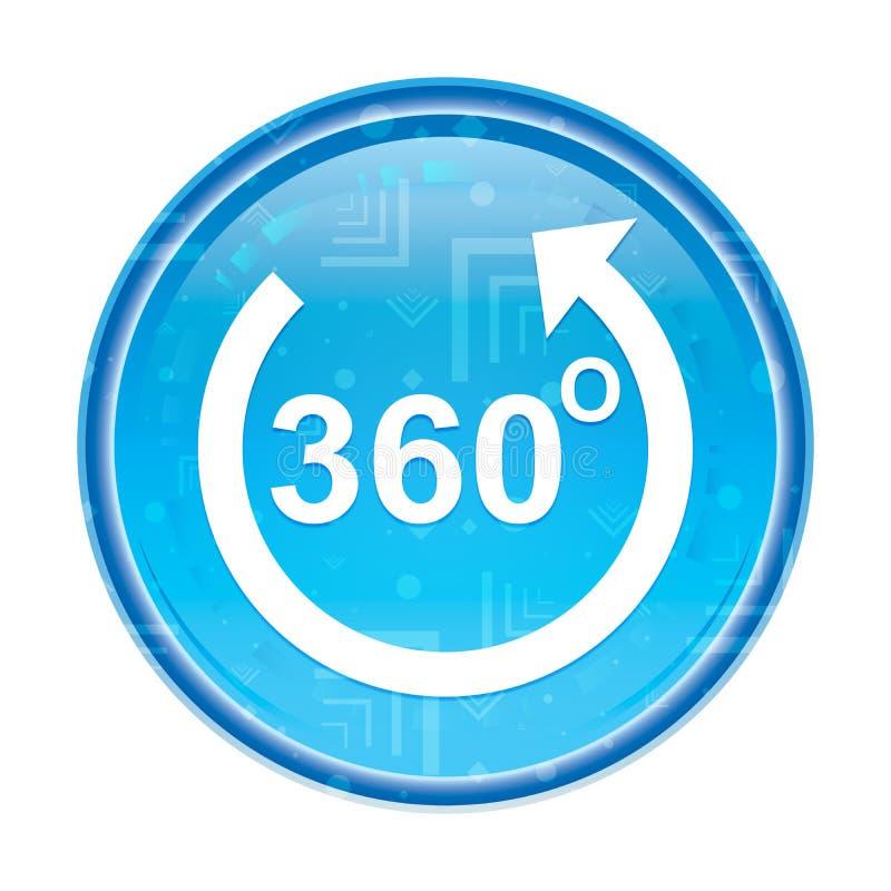 360度转动箭头象花卉蓝色圆的按钮 库存例证