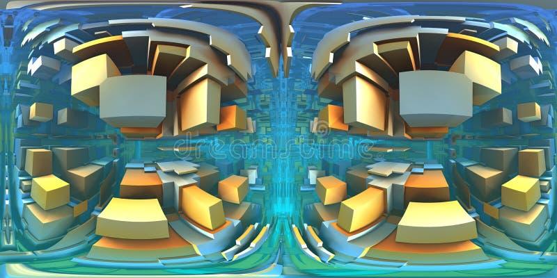 360度迷宫,抽象迷宫背景全景,equirectangular投射,环境地图 向量例证
