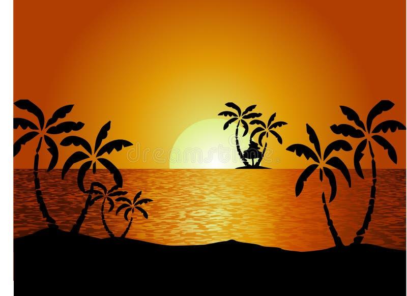 8座另外的eps格式草巨大的湖山临近日落向量 皇族释放例证