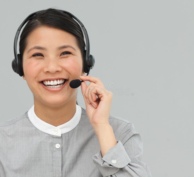 座席亚洲客户耳机服务 库存图片