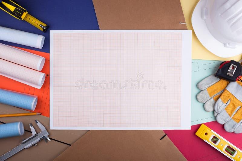 座标图纸和工程学属性板料  图库摄影