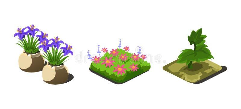 庭园花木和花,比赛用户界面录影计算机游戏的自然元素导航例证 向量例证