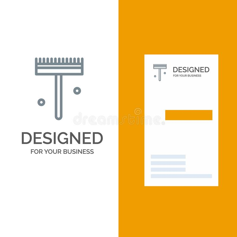 庭院、花匠、犁耙、铁锹灰色商标设计和名片模板 库存例证