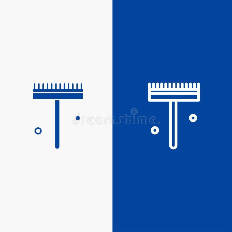 庭院、花匠、犁耙、铁锹线和纵的沟纹坚实象蓝色旗和纵的沟纹坚实象蓝色横幅 皇族释放例证