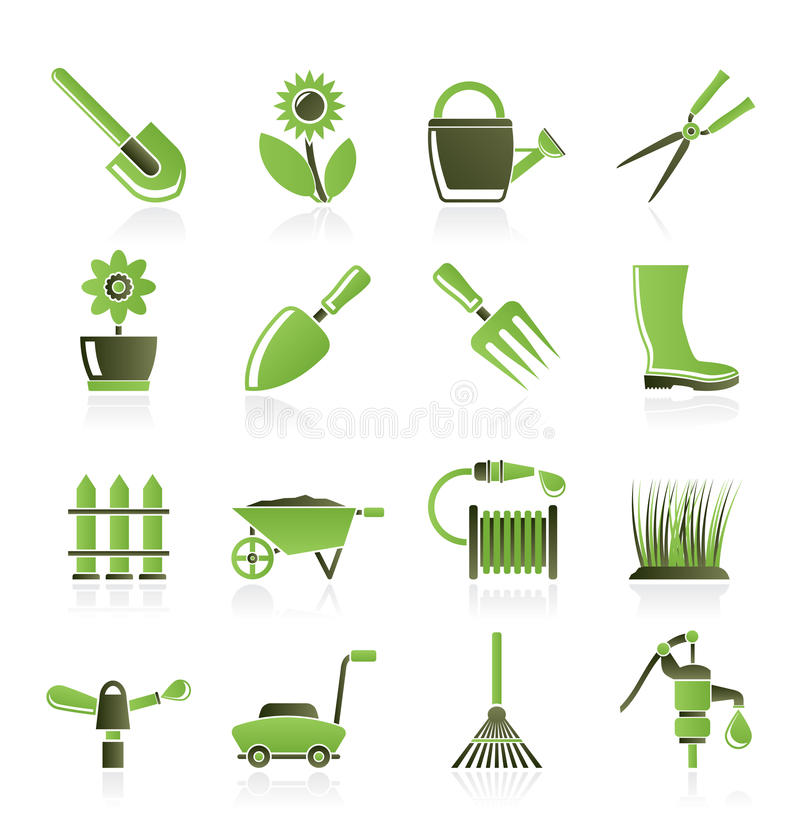 庭院从事园艺的图标对象工具 库存例证