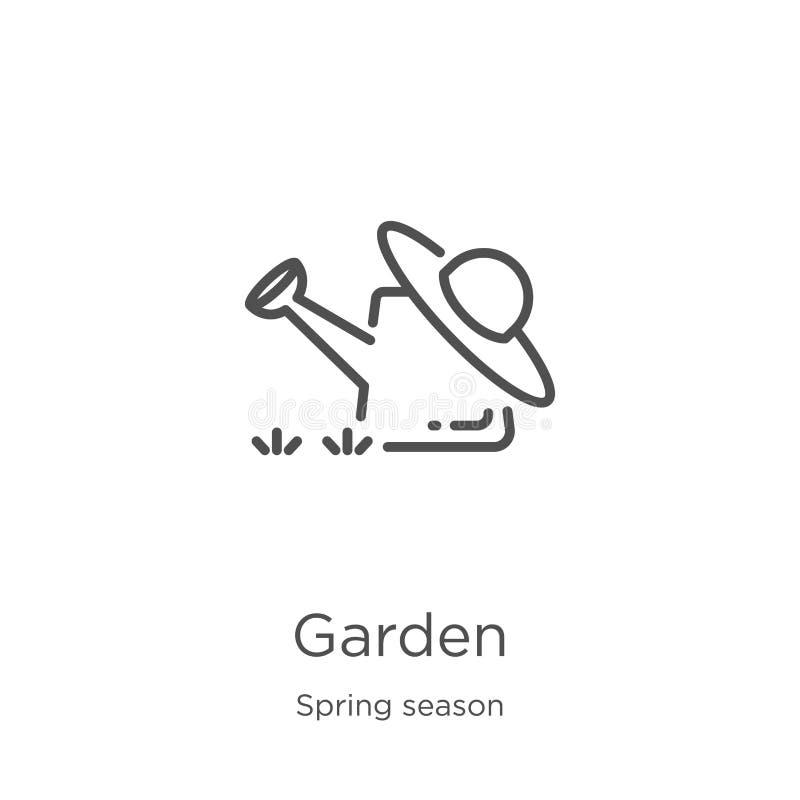 庭院从春季汇集的象传染媒介 稀薄的线庭院概述象传染媒介例证 概述,稀薄的线庭院 皇族释放例证