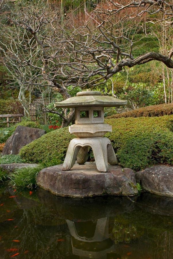 庭院传统japanease的闪亮指示 免版税库存图片