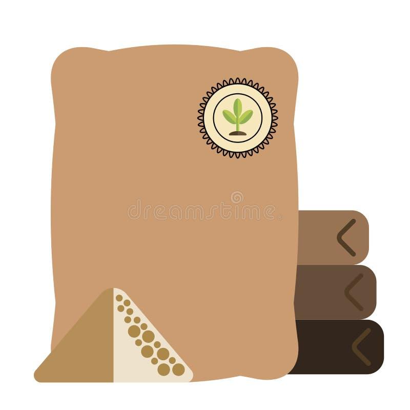 庭院包装袋子肥料,庭院象,平的样式 库存例证