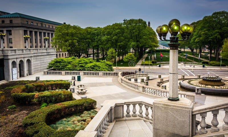 庭院和大厦在国会大厦复合体,哈里斯堡 免版税库存图片