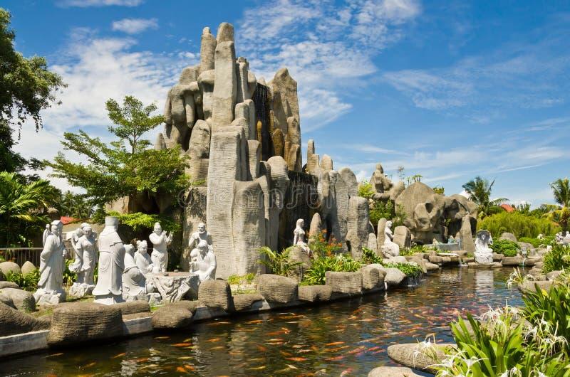 庭院在图阿Pek孔寺庙, Sitiawan,马来西亚 库存图片