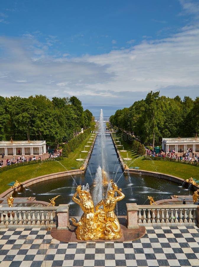 庭院在圣的Petersboreg peterhof宫殿 库存照片