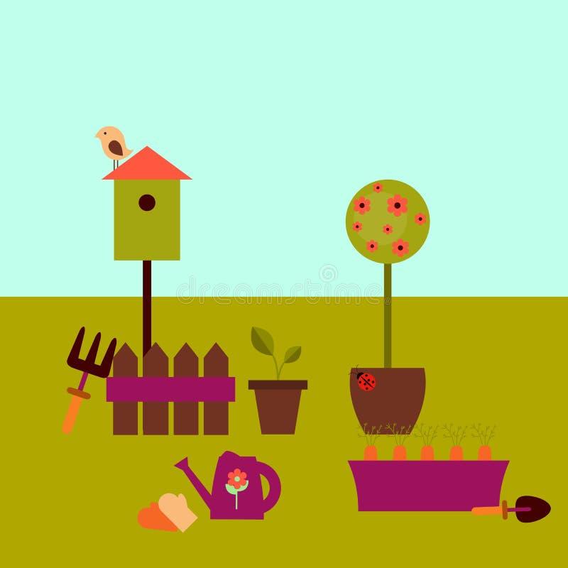 庭院场面-春天设计 库存例证