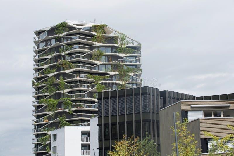 庭院塔的伯尔尼,瑞士7月23日不对称的阳台 免版税图库摄影