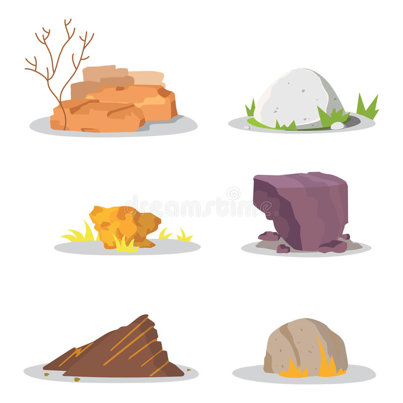 庭院岩石和石头为损伤选拔或堆了 例证比赛艺术建筑学设计 冰砾传染媒介集合 库存例证