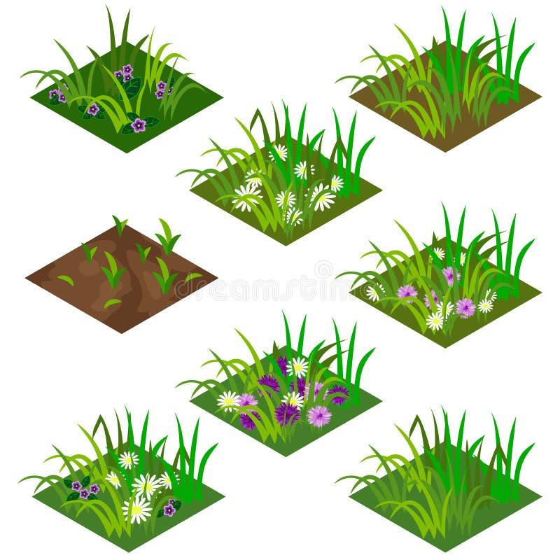 庭院或农厂等量瓦片集合 库存例证