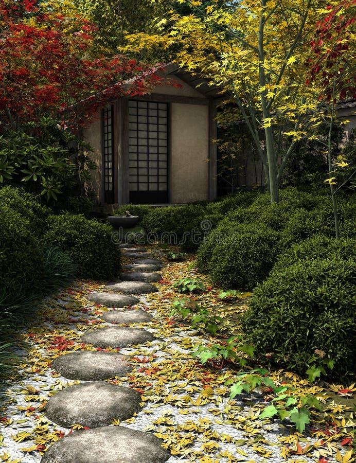庭院房子日本人茶 库存例证