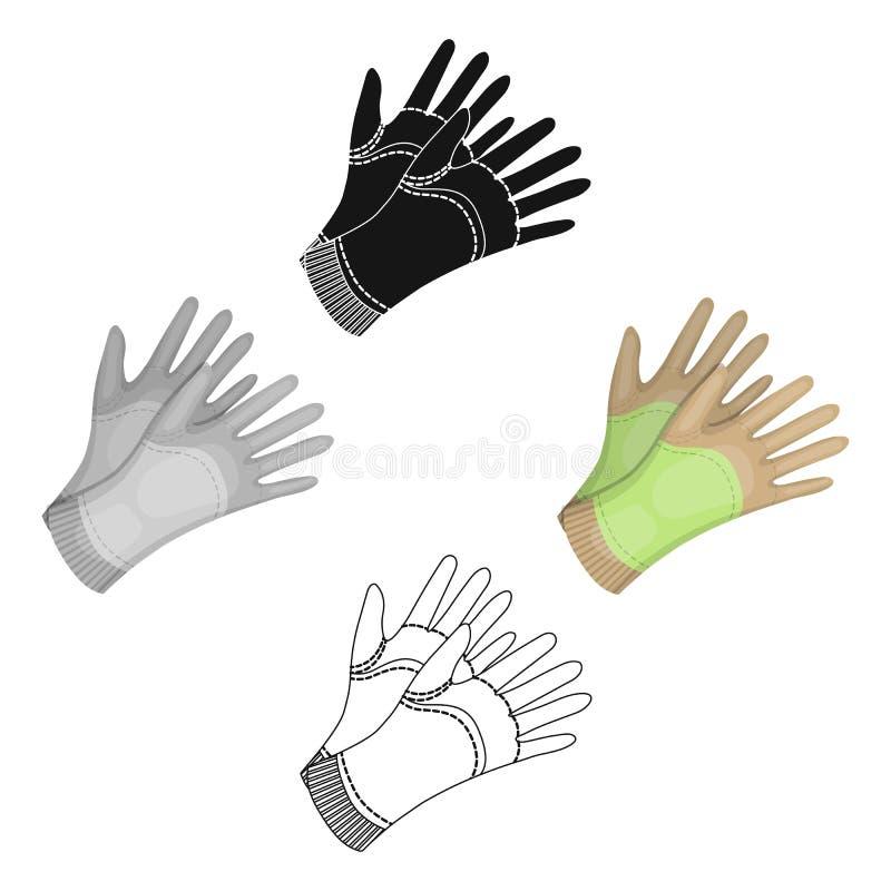 庭院手套与土地一起使用在庭院里 防护花匠衣物 农场和从事园艺的唯一象  库存例证