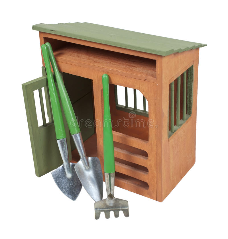 庭院棚子工具 免版税库存照片