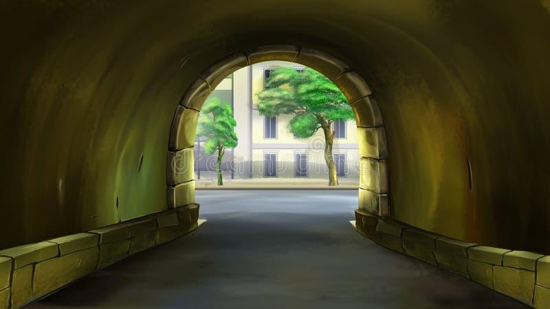 庭院的拱道 皇族释放例证