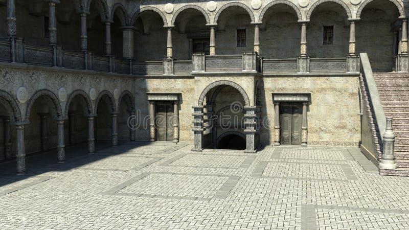 庭院的看法入口的对城堡 免版税图库摄影