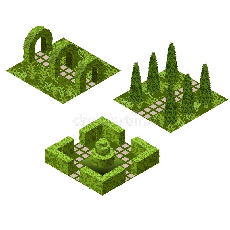 庭院等量瓦片集合 与各种各样的创造修剪的花园庭院场面的灌木和草的财产 皇族释放例证