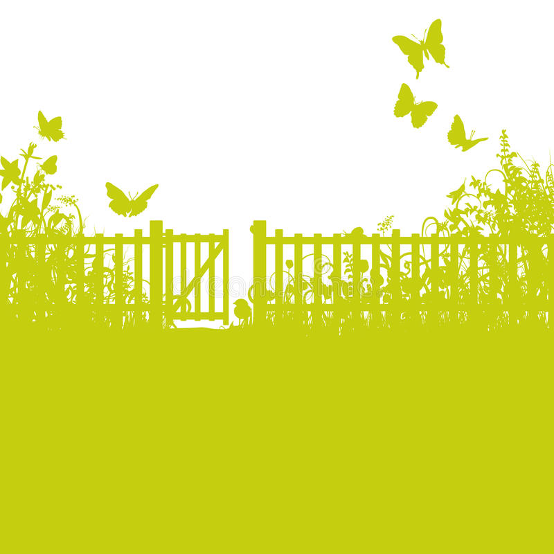 庭院篱芭、门和草坪 免版税库存图片
