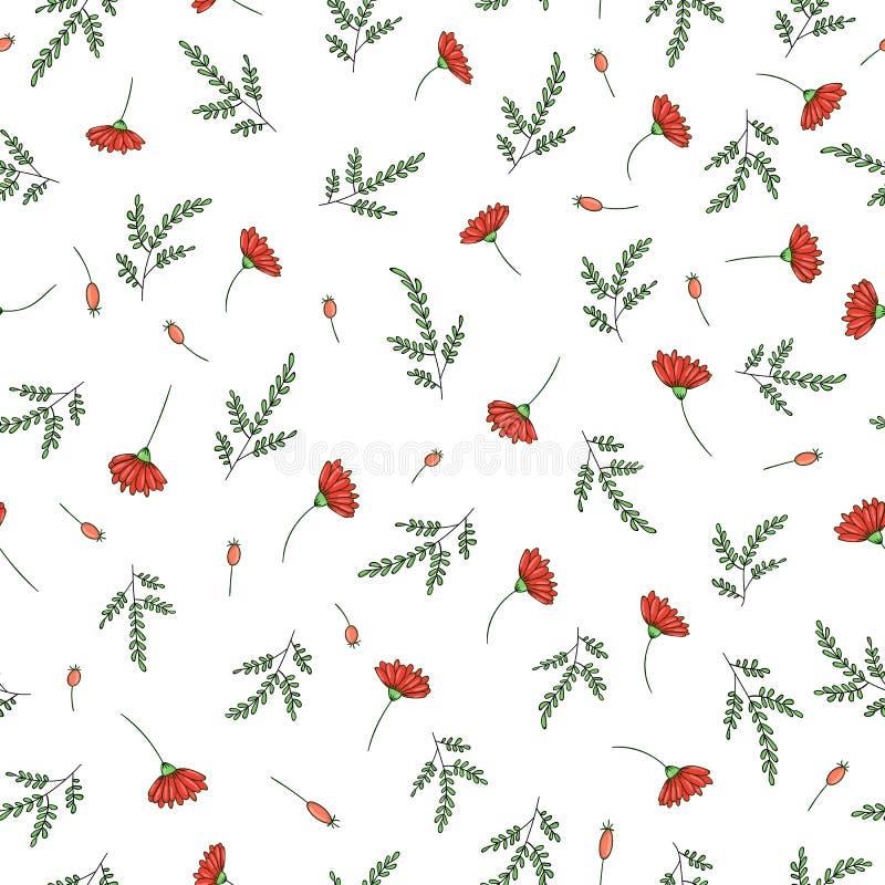 庭院花和草本的传染媒介无缝的样式 手拉的动画片样式重复背景 不尽逗人喜爱的夏天或的春天 向量例证
