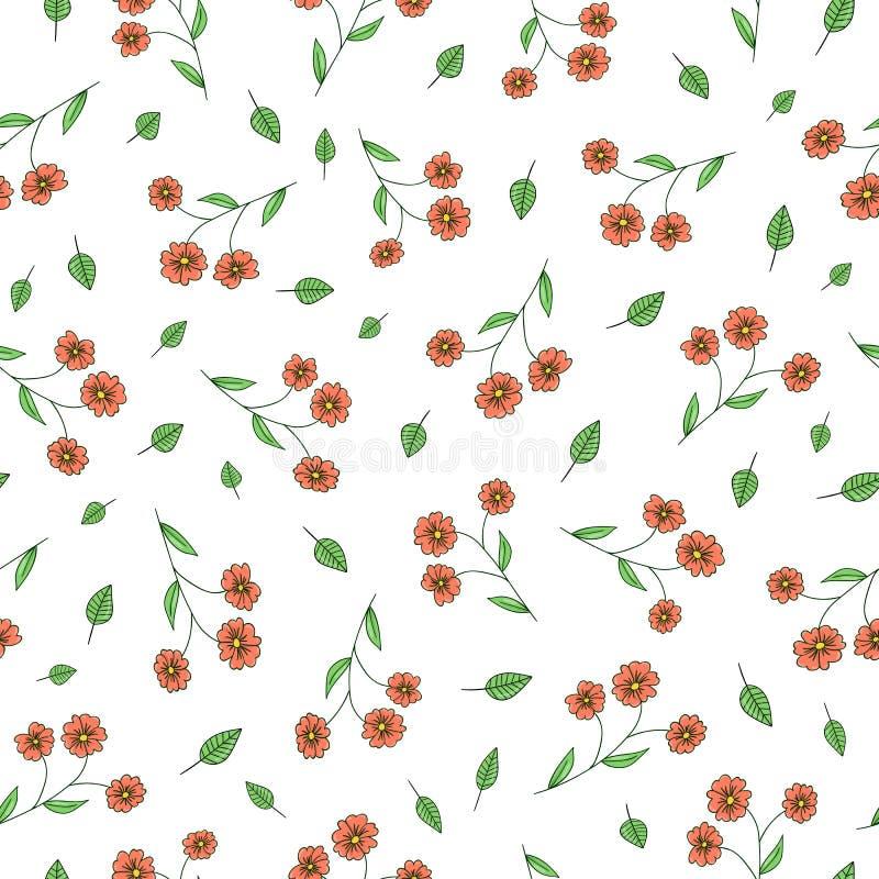 庭院花和草本的传染媒介无缝的样式 手拉的动画片样式重复背景 不尽逗人喜爱的夏天或的春天 皇族释放例证