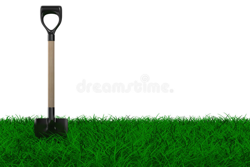 庭院草铁锹工具 向量例证