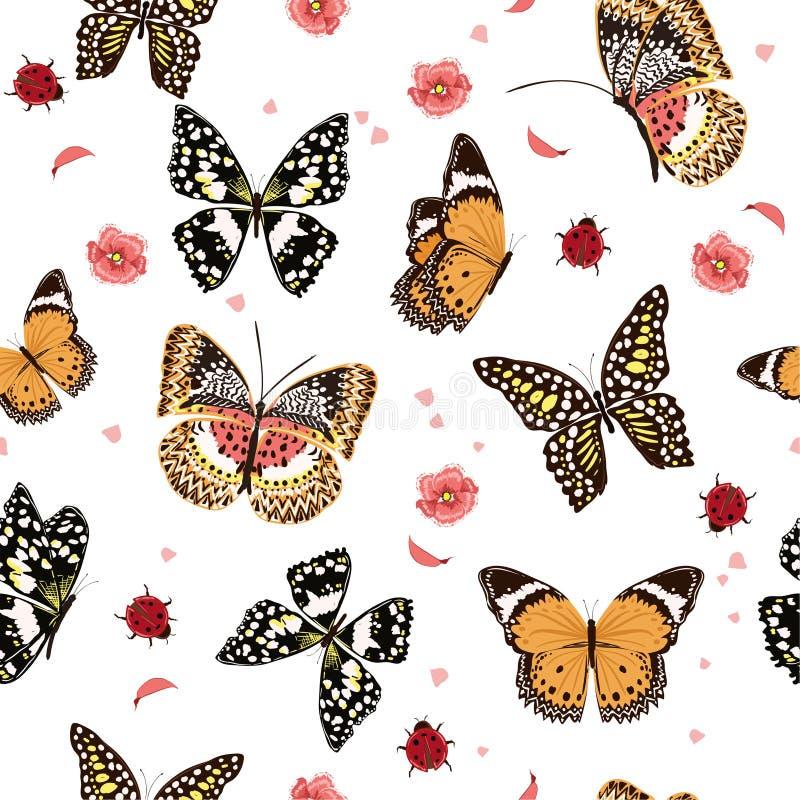 庭院蝴蝶飞行在庭院里的,夫人臭虫,昆虫seamles 向量例证