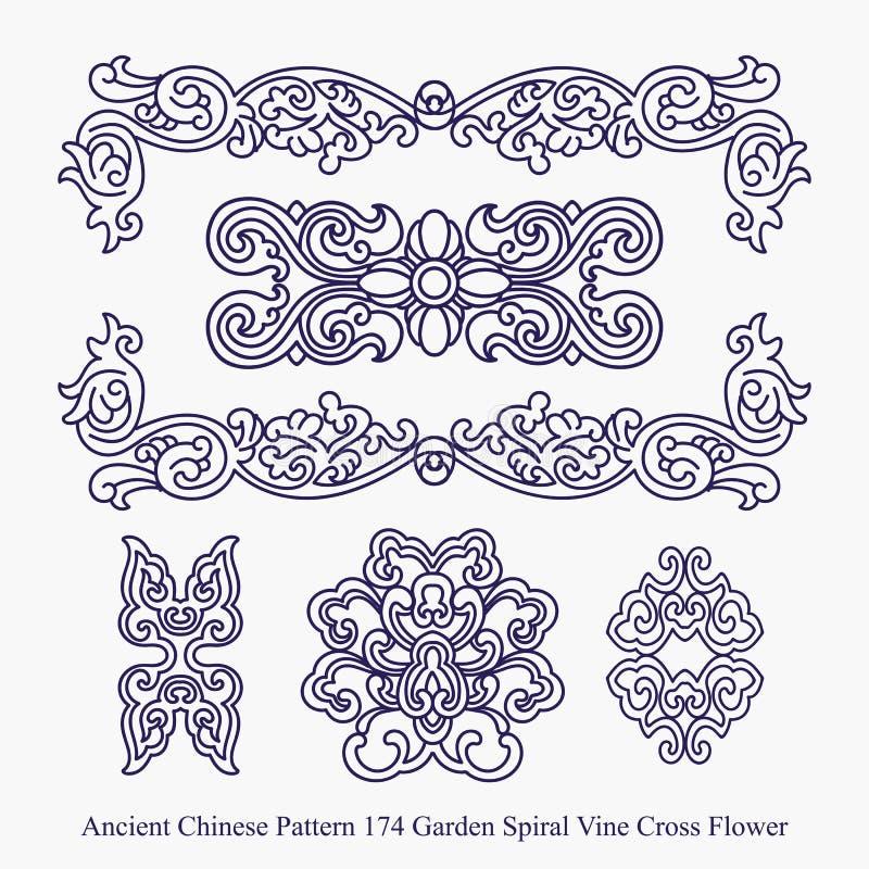 庭院螺旋藤十字架花的古老中国样式 向量例证