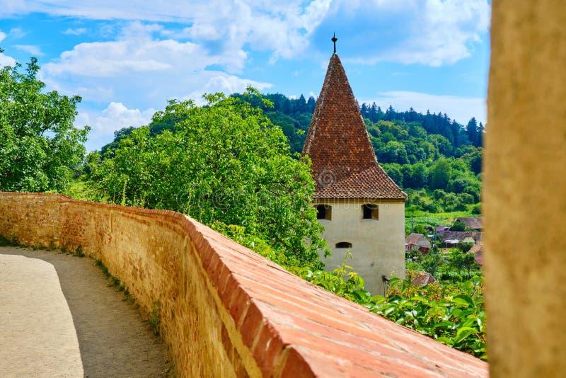 庭院观点的Biertan加强了教会,有与类似一个人面的窗口的防御墙壁和监视塔的 库存照片