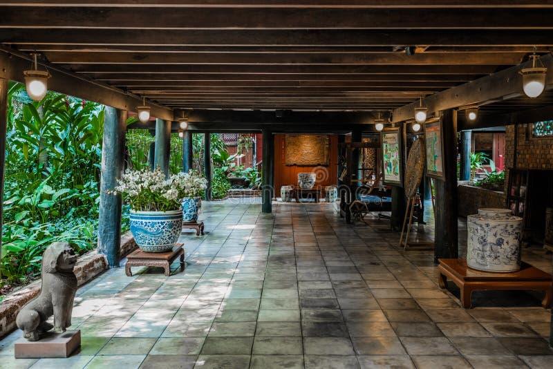 庭院露台吉姆汤普森议院博物馆曼谷泰国 免版税库存照片